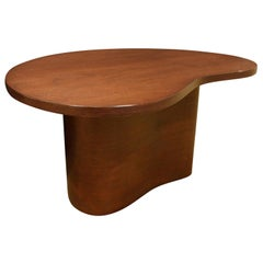 Kidney Shaped Side Table in Walnut Attributed to T.H. Robsjohn-Gibbings, 1950s