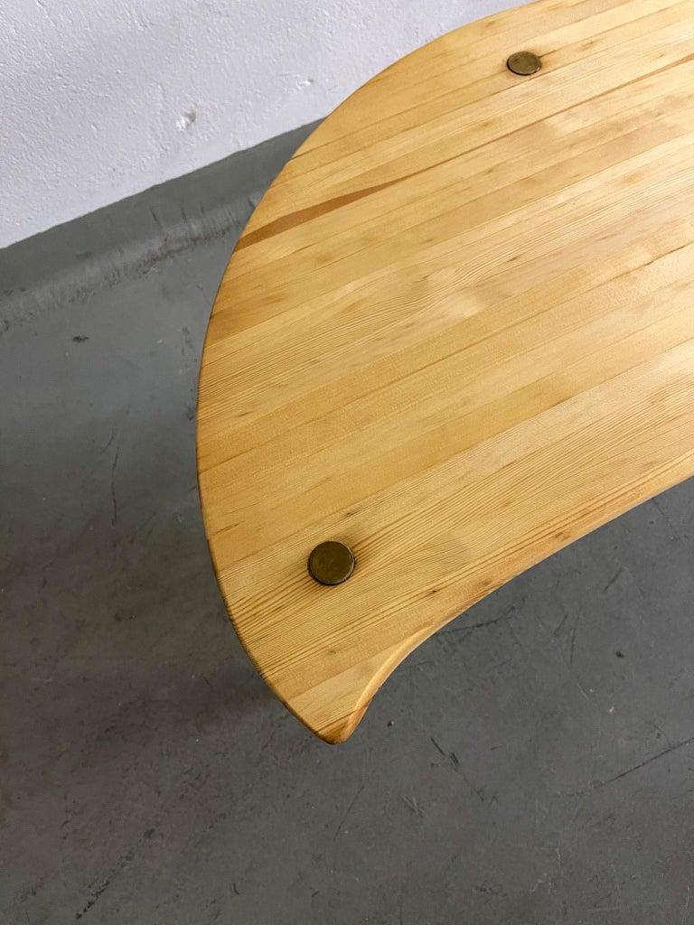 Brass Kidney Shaped Side Table Produced by Svensk Fur, Sweden, 1970s For Sale
