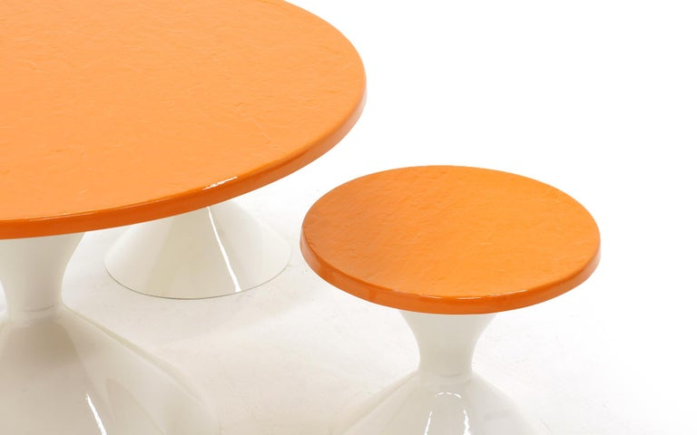 American Kids Outdoor Patio Table and Four Stools White and Orange Fiberglass For Sale