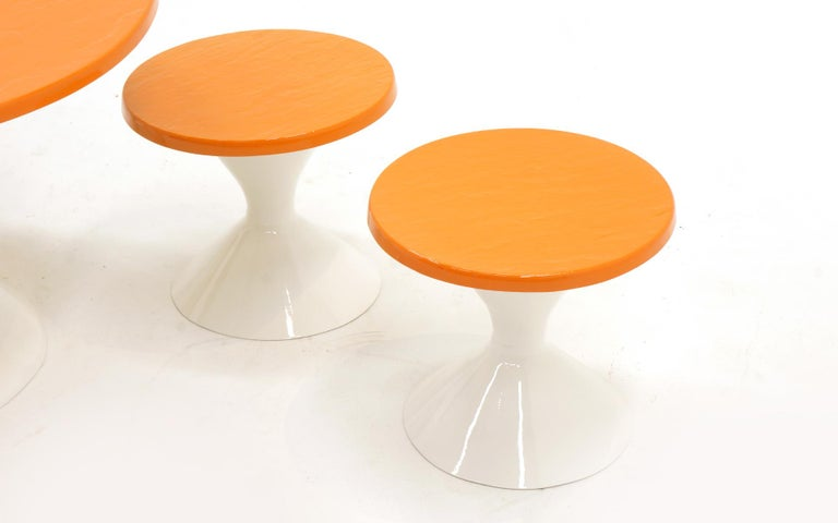 Kids Outdoor Patio Table and Four Stools White and Orange Fiberglass For Sale 1