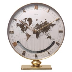 Kienzle Mid-Century Modern Brass and Glass World Time Zone Clock