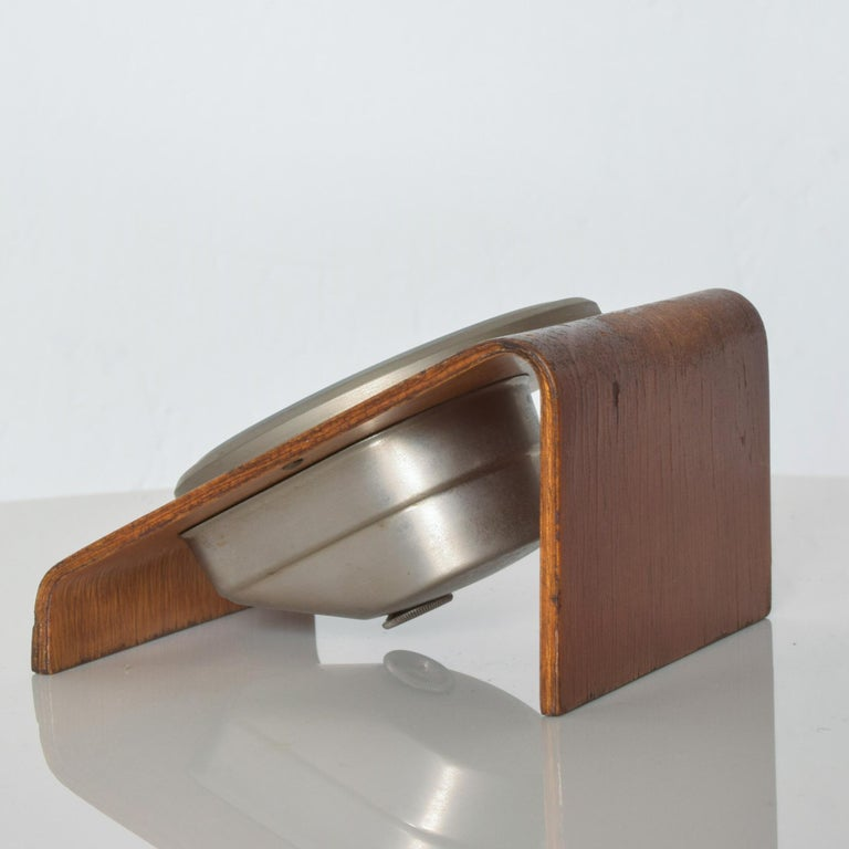 Mid-20th Century Kienzle Very Modern Desk Table Clock Patinated Bentwood Case 1960s Germany