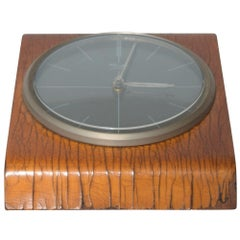 Kienzle Very Modern Desk Table Clock Patinated Bentwood Case 1960s Germany