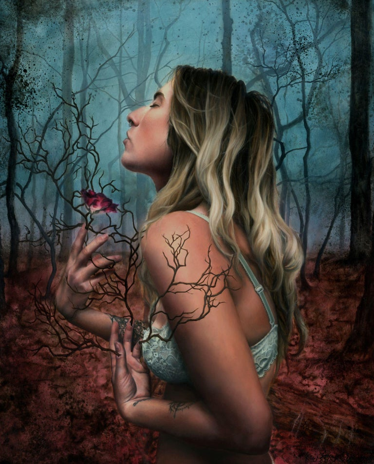 """Kierstin Young Figurative Painting - """"Anima Flore"""" Oil Painting"""