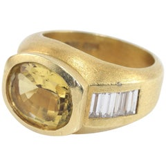 Kieselstein-Cord 1.15 Carat Diamond and Chrysoberyl Gold Ring