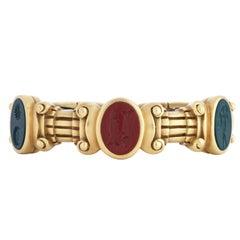 Kieselstein Cord 18 Karat Gold Blood Stone and Jasper Intaglio Cuff Bracelet