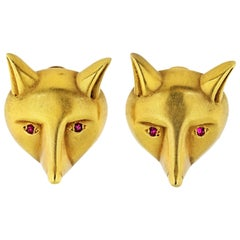 Kieselstein Cord 18 Karat Yellow Gold Fox Head Ruby Eyes Earrings