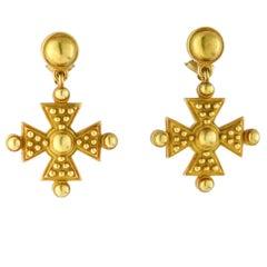 Kieselstein-Cord 18 Karat Yellow Gold Maltese Cross Dangle Earrings