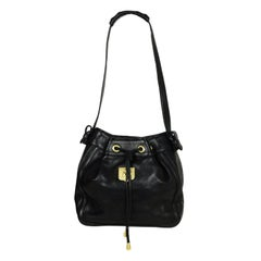Kieselstein-Cord Black Leather Bucket Bag w/ Antiqued Gold Hardware