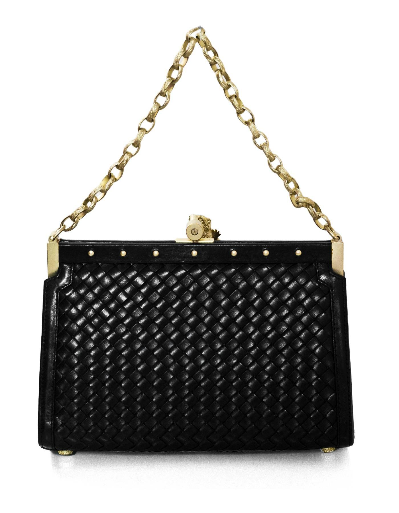1stdibs Kieselstein-cord Black Woven Leather Frame Bag W. Frog Z8kEgBcoA