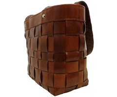 Kieselstein-Cord Brown Leather Band Woven Bag W/ Drawstring Insert Closure