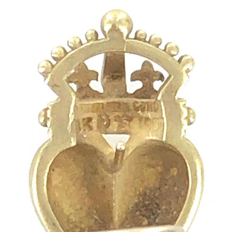 Kieselstein Cord Crown Heart 18 Karat Yellow Gold Earrings In Good Condition For Sale In Boca Raton, FL