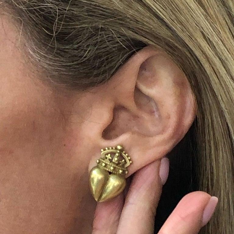 Women's Kieselstein Cord Crown Heart 18 Karat Yellow Gold Earrings For Sale