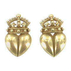 Kieselstein Cord Crown Heart 18 Karat Yellow Gold Earrings