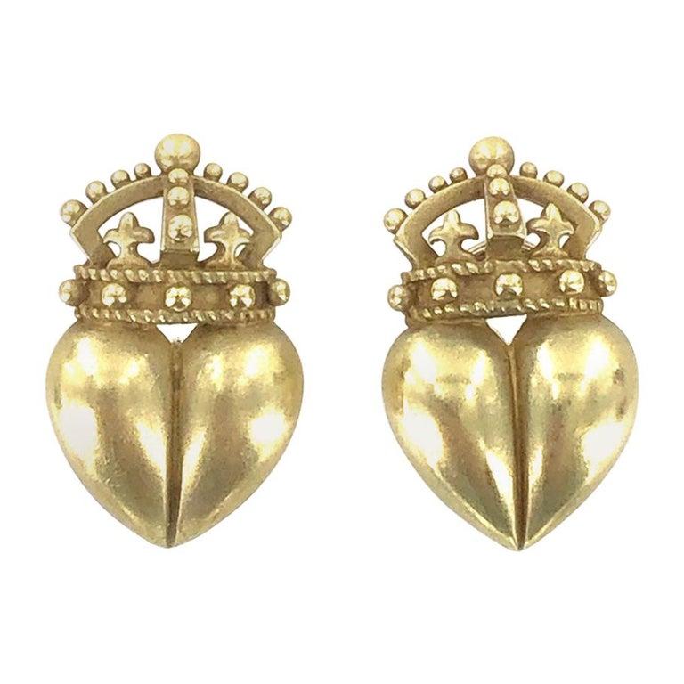 Kieselstein Cord Crown Heart 18 Karat Yellow Gold Earrings For Sale