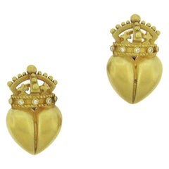 Kieselstein-Cord Crowned Heart Earrings