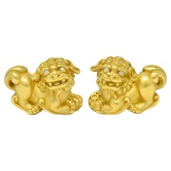 Kieselstein Cord Diamond 18 Karat Yellow Gold Chinese Lion Earrings