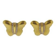 Kieselstein Cord Diamond Gold Butterfly Earrings