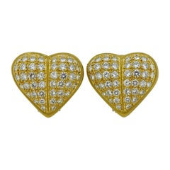 Kieselstein Cord Diamond Gold Heart Earrings
