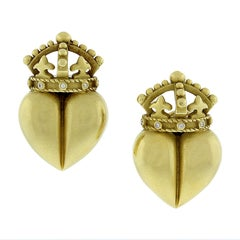"Kieselstein-Cord Diamond Gold ""Royal Heart"" Earrings"