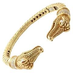 Kieselstein Cord Diamond Two Alligator Heads Yellow Gold Bangle Bracelet
