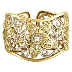 Kieselstein-Cord Flower King 9.65 Carat Diamond 18 Karat Gold Bangle Bracelet