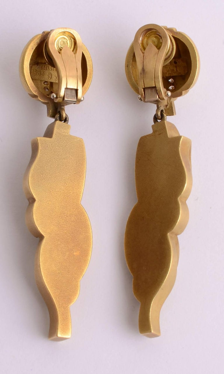 Kieselstein Cord Gold Drop Earrings with Diamonds In Excellent Condition For Sale In Darnestown, MD