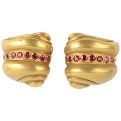 Kieselstein Cord Gold Ruby Earrings