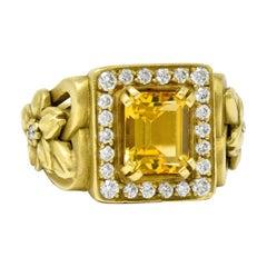 Kieselstein Cord Heliodor Golden Beryl Diamond 18 Karat Yellow Gold Flower Ring