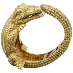 Kieselstein-Cord Large 18 Karat Gold Alligator Cuff Bracelet