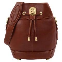 KIESELSTEIN-CORD Leather Drawstring Equestrian Medallion Bucket Shoulder Bag