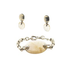 Kieselstein-Cord Rutilated Quartz Sterling Silver Link Bracelet and Earrings