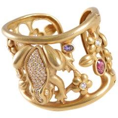 Kieselstein-Cord Green Gold Diamond Gemstone Cuff Midsummer Nights Dream