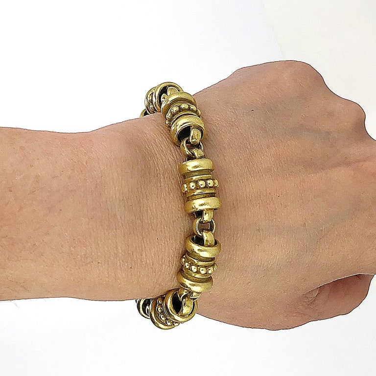 18K Yellow Gold Kieselstein Bracelet. Gold Weight: 47.69 dwt. measures approximately 7.5″ in length by 0.42″ in width Condition: Good - Previously owned and gently worn, with little signs of use. May show light scratches but has no structural issues.