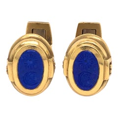 Kieselstein Yellow Gold and Lapis Cufflinks