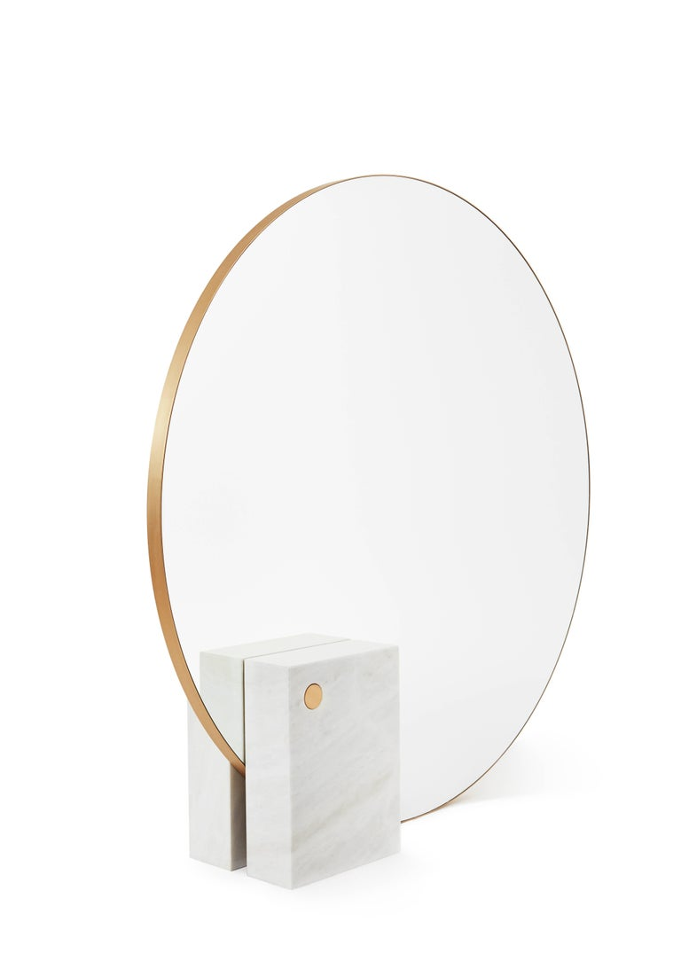 Other Kika Big Mirror or Screen in Estremoz Marble and Brass, Limited Edition For Sale