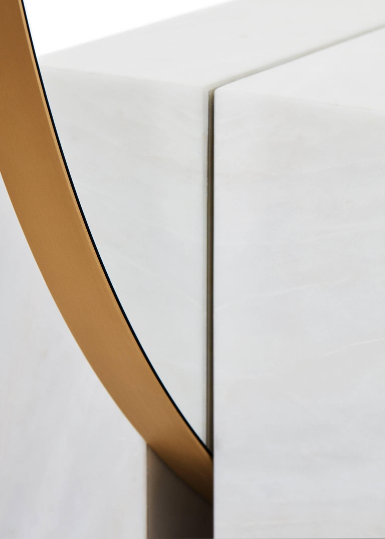 Kika Big Mirror or Screen in Estremoz Marble and Brass, Limited Edition In New Condition For Sale In Firenze, IT