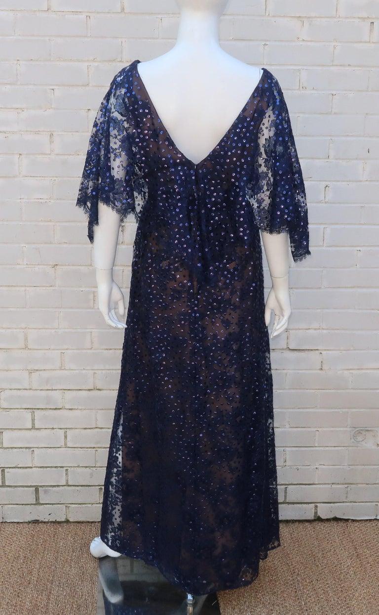 Kiki Hart Blue Lace Sequin Evening Dress, 1960's For Sale 5
