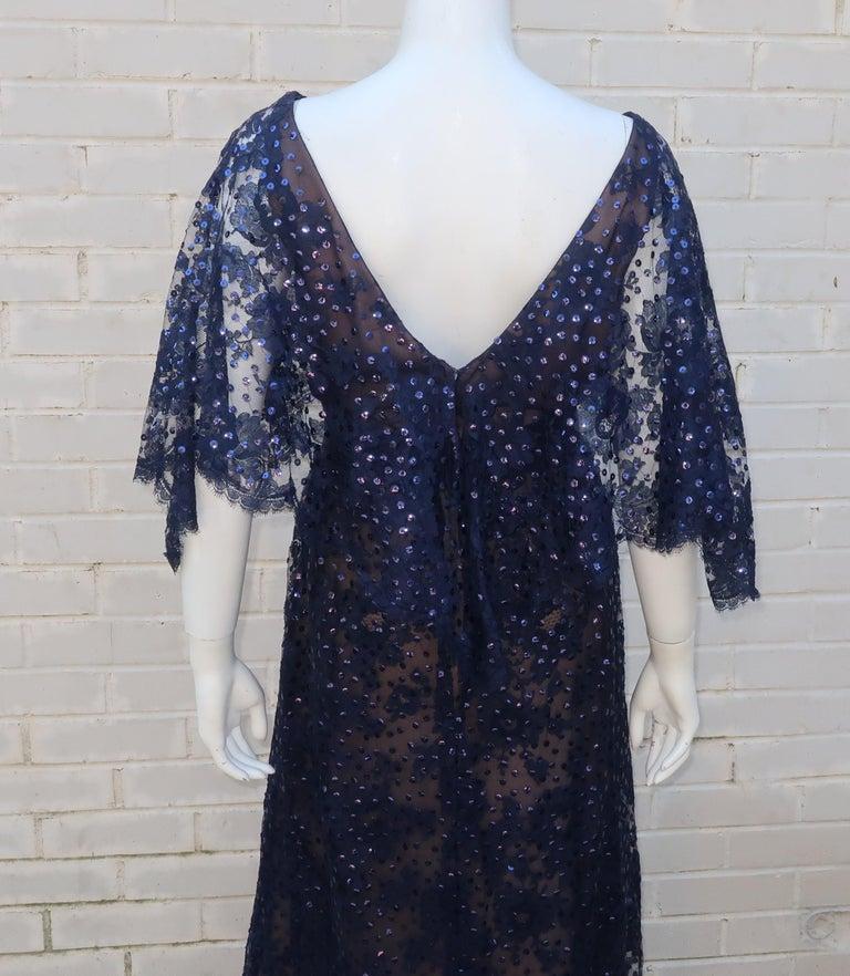 Kiki Hart Blue Lace Sequin Evening Dress, 1960's For Sale 6