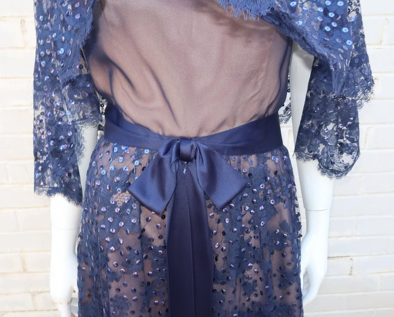 Kiki Hart Blue Lace Sequin Evening Dress, 1960's For Sale 7