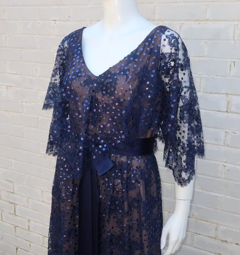 Black Kiki Hart Blue Lace Sequin Evening Dress, 1960's For Sale