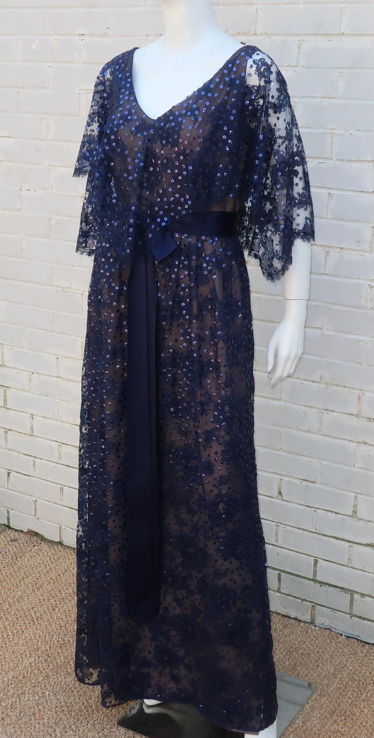 Kiki Hart Blue Lace Sequin Evening Dress, 1960's In Good Condition For Sale In Atlanta, GA