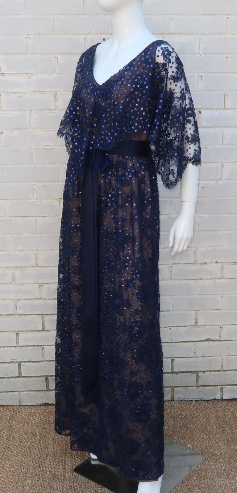 Women's Kiki Hart Blue Lace Sequin Evening Dress, 1960's For Sale