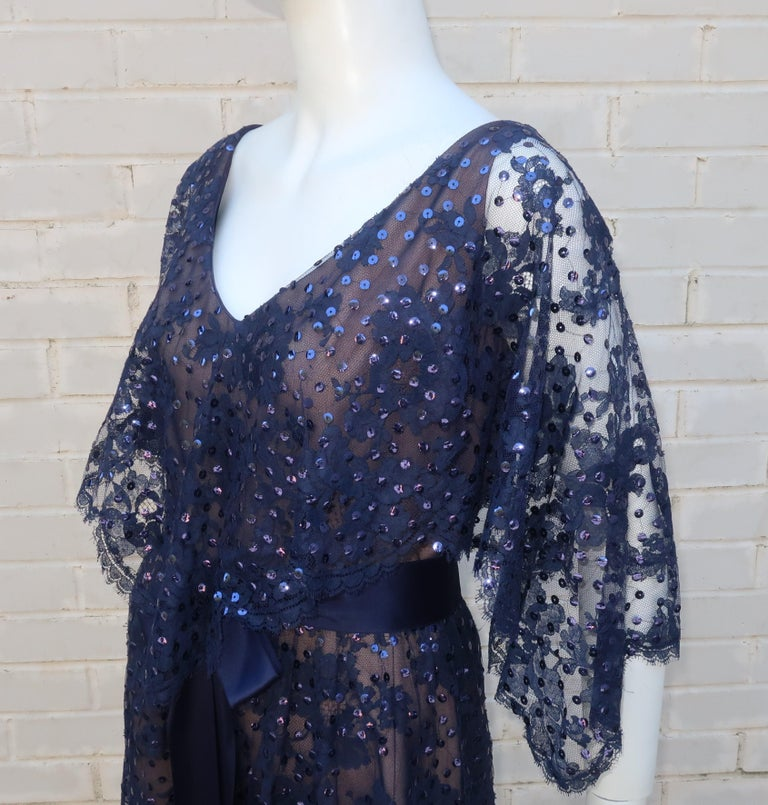 Kiki Hart Blue Lace Sequin Evening Dress, 1960's For Sale 1