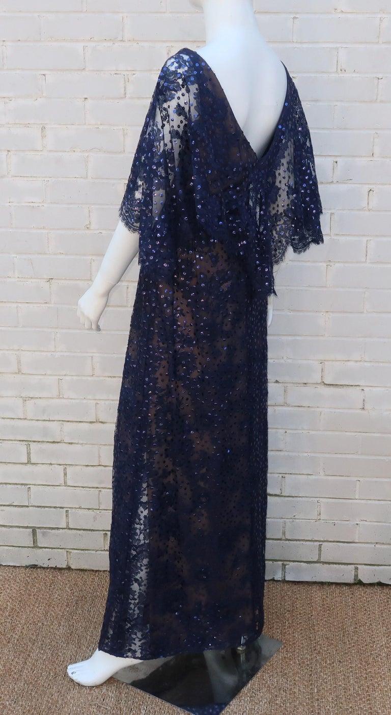Kiki Hart Blue Lace Sequin Evening Dress, 1960's For Sale 2