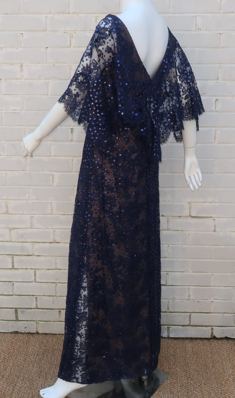 Kiki Hart Blue Lace Sequin Evening Dress, 1960's For Sale 3