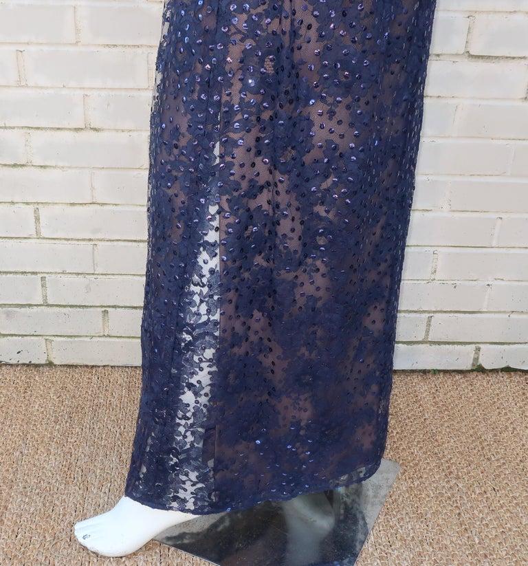 Kiki Hart Blue Lace Sequin Evening Dress, 1960's For Sale 4