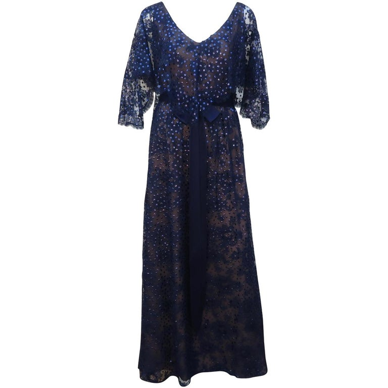 Kiki Hart Blue Lace Sequin Evening Dress, 1960's For Sale