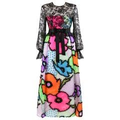KIKI HART Couture c.1970's Floral Pop Art Satin Bow Lace Ruffle Maxi Party Dress