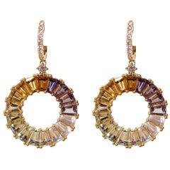 Kiki McDonough 18 Carat Yellow Gold Multi-Stone Earrings